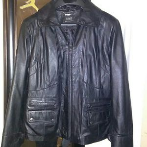 ana genuine lambskin black leather jacket